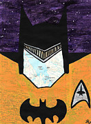 Outsider Drawings Framed Prints - Batman as Geordi La Forge Framed Print by Jera Sky