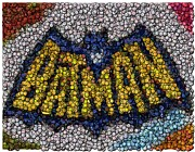 Bat Mixed Media Originals - Batman Bottle Cap Mosaic by Paul Van Scott