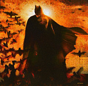 Bat Painting Posters - Batman Poster by Elizabeth Coats