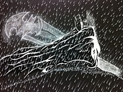 Superheros Drawings - Batman in the rain by Chad Gordon