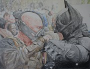 Knight Drawings - Batman versus Bane by Thomas Canning