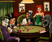 Poison Ivy Framed Prints - Batman Villains Playing Poker Framed Print by Emily Jones