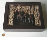 Bat Cave Mixed Media - Bats in a Shadow Box by Roger Swezey