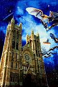 Illustration Painting Originals - Bats In The Belfry by Hanne Lore Koehler