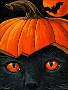 Black Cat Art - Bats in the Belfry  by Linda Apple