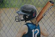 Softball Painting Posters - Batter Up Poster by Charlotte Yealey