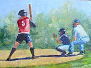 Softball Painting Originals - Batter up Girls by Joanne Massingale