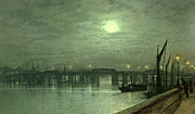 Bay Bridge Painting Metal Prints - Battersea Bridge by Moonlight Metal Print by John Atkinson Grimshaw
