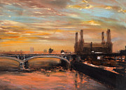 Dawn Pastels Posters - Battersea Dawn Poster by Paul Mitchell