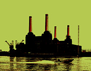 Yellow Digital Art Acrylic Prints - Battersea Power Station London Acrylic Print by Jasna Buncic
