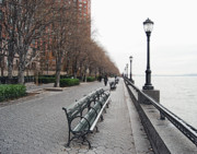 Benches Posters - Battery Park Poster by Michael Peychich