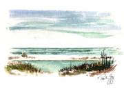 Pencil Paintings - Battery Payne Fort Pickens Florida by Paul Gaj