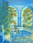 Arches Pastels Posters - Battery View at Sunset at Two Meeting Street Inn of Charleston SC Poster by Pamela Poole