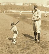 American League Posters - Batting with the Babe Poster by Padre Art
