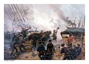 Alabama Framed Prints - Battle Between Kearsarge And Alabama Framed Print by War Is Hell Store