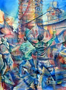 Political Paintings - Battle for Cairo by Khalid Hussein