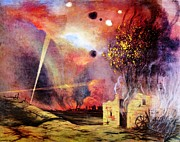 Fires Paintings - Battle Ground Ruins and Fires by Pg Reproductions
