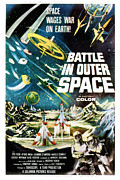 1950s Movies Prints - Battle In Outer Space, Aka Uchu Print by Everett