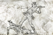 Confederate Monument Prints - Battle in the Wheatfield  Mississippi at Gettysburg Sketch Print by Randy Steele
