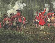Militaria Prints - Battle of Bushy Run Pennsylvania Firing Line Print by Randy Steele