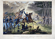 Confederate Flag Prints - Battle Of Chantlly, 1862 Print by Granger