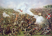 Flags Paintings - Battle of Five Forks Virginia 1st April 1865 by American School