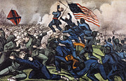 Confederate Flag Photo Posters - Battle Of Fort Wagner, 1863 Poster by Granger