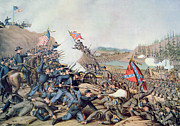U.s Army Painting Metal Prints - Battle of Franklin November 30th 1864 Metal Print by American School