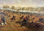 Battles Painting Framed Prints - Battle of Gettysburg Framed Print by Thure de Thulstrup