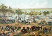 Civil Painting Framed Prints - Battle of Gettysburg Framed Print by War Is Hell Store