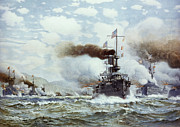 Warship Painting Posters - Battle Of Manila Bay 1898 Poster by Granger