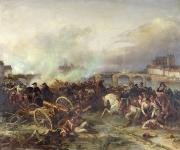 Battle Painting Framed Prints - Battle of Montereau Framed Print by Jean Charles Langlois
