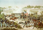 Soldier Paintings - Battle of Olustee by American School