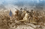 Flag Of Usa Framed Prints - Battle Of Shiloh, Charge Of General Framed Print by Photo Researchers