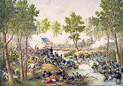 American Flag Painting Framed Prints - Battle of Spottsylvania May 1864 Framed Print by American School