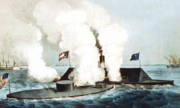 Naval Painting Posters - Battle of the Monitor and Merrimack Poster by War Is Hell Store