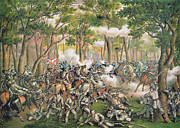 Troops Framed Prints - Battle of the Wilderness May 1864 Framed Print by American School