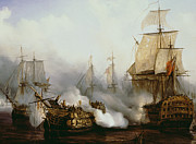 Sailboat Painting Prints - Battle of Trafalgar Print by Louis Philippe Crepin
