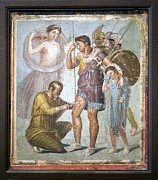 Battle Wounds Of Aeneas, Roman Fresco Print by Sheila Terry