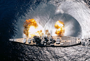 Turret Prints - Battleship Iowa Firing All Guns Print by Stocktrek Images
