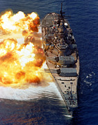 Artillery Photo Framed Prints - Battleship Uss Iowa Firing Its Mark 7 Framed Print by Stocktrek Images