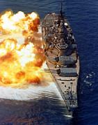 Battleship Uss Iowa Firing Its Mark 7 Print by Stocktrek Images
