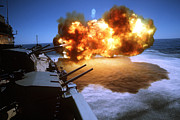 Firearms Photo Metal Prints - Battleship Uss Missouri Fires One Metal Print by Stocktrek Images