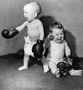 Boxing  Prints - Battling Babies Print by Fox Photos