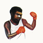 Boxer Drawings - Battling Siki by Emmanuel Baliyanga