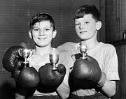 Boxing  Prints - Battling Twins Print by Fred Morley
