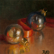 Debbie Lamey-macdonald Acrylic Prints - Baubles and Ribbon Acrylic Print by Debbie Lamey-MacDonald
