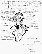 French Handwriting Prints - Baudelaire: Jeanne Duval Print by Granger