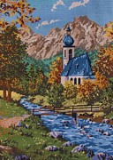Trees Tapestries - Textiles Posters - Bavarian Country Poster by Linda Knight