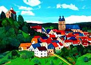 Charming Town Paintings - Bavarian Village by JoeRay Kelley